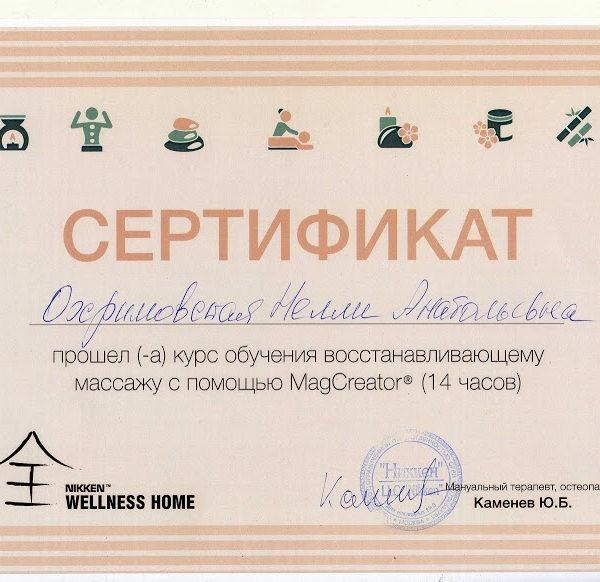 Магнитная рефлекторно-сегментарная терапия - сертификат